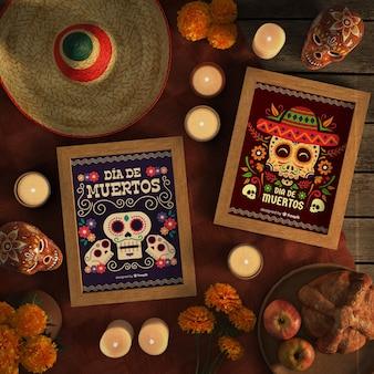 Układ makiet meksykańskiej czaszki dia de muertos