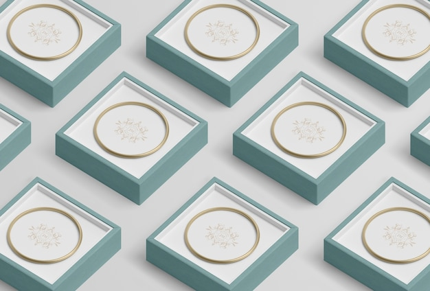 Układ niebieskich pudełek na biżuterię