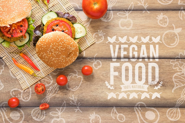 Układ widok z góry z wegetariańskimi burgerami