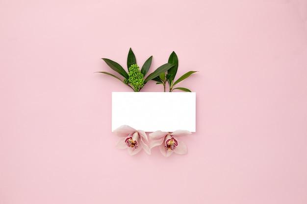 Układ wykonany z zielonych liści i kwiatów orchidei