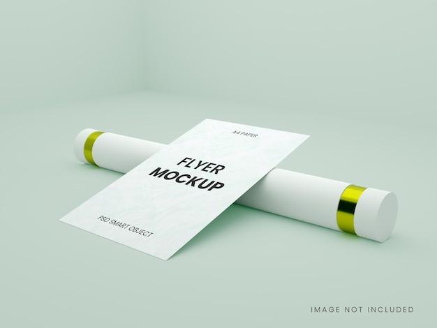 Ulotka broszura makieta renderowania widoku z boku