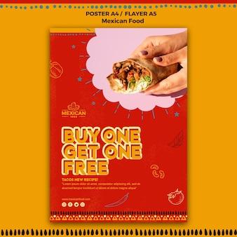 Ulotka dla meksykańskiej restauracji z jedzeniem