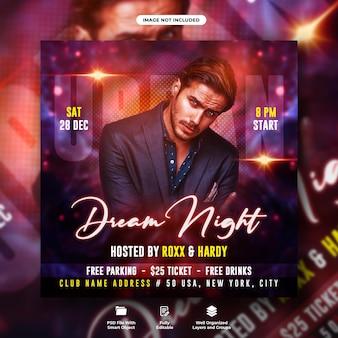 Ulotka dream night party i szablon postu w mediach społecznościowych