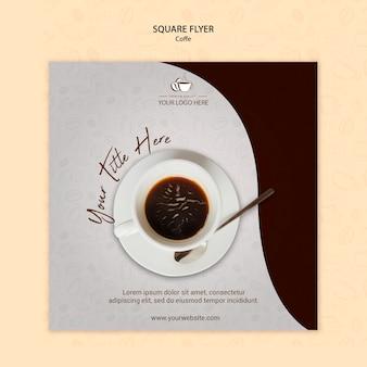 Ulotka kwadratowa koncepcja kawy