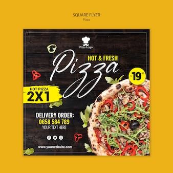 Ulotka kwadratowa pizzerii ze zdjęciem