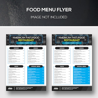 Ulotka menu żywności