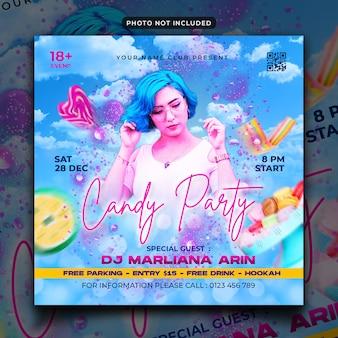 Ulotka na imprezę muzyczną post w mediach społecznościowych i baner internetowy