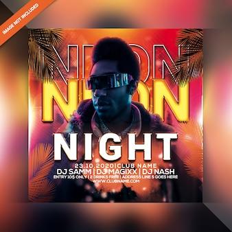 Ulotka neon night party