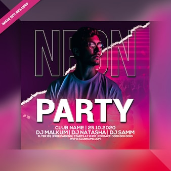 Ulotka neon party