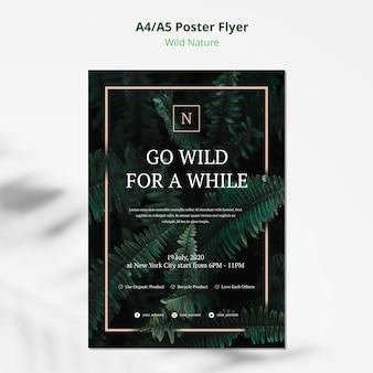 Ulotka plakat koncepcja dzikiej przyrody