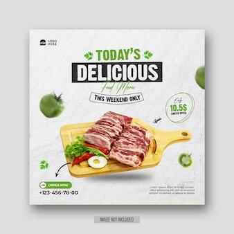 Ulotka promocyjna menu zdrowej żywności w mediach społecznościowych lub szablon posta na instagramie
