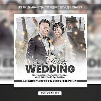 Ulotka ślubna szablon postu w mediach społecznościowych premium psd