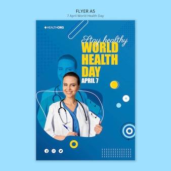 Ulotka światowego dnia zdrowia ze zdjęciem