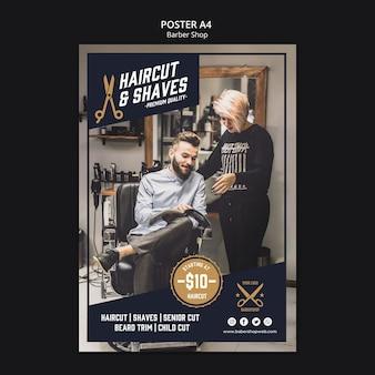 Ulotka szablonu sklepu fryzjerskiego