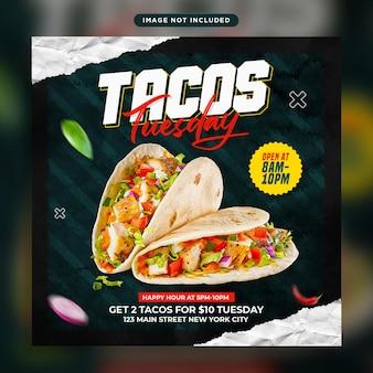 Ulotka tacos i szablon postu w mediach społecznościowych dla restauracji fast food
