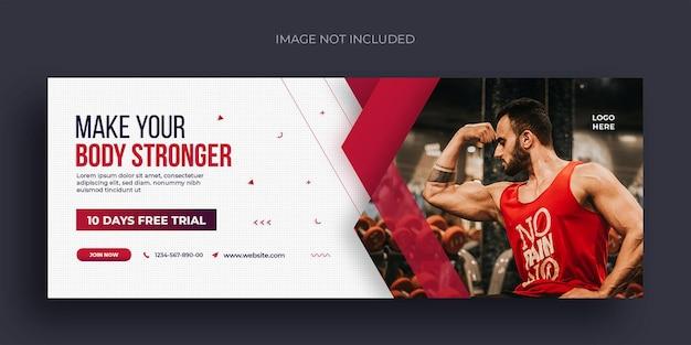 Ulotka z banerami społecznościowymi fitness lub siłownią i szablon projektu zdjęcia w tle na facebooka