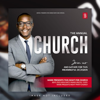 Ulotka z konferencji kościelnej w mediach społecznościowych post baner internetowy