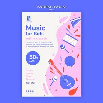 Ulotka z szablonem platformy muzycznej dla dzieci