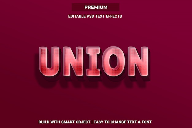 Unia - efekt czcionki tekstowej w stylu 3d psd