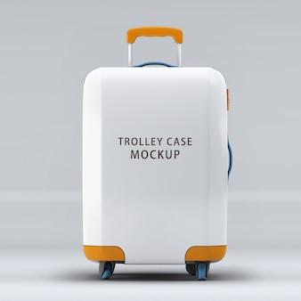 Uniwersalna walizka na kółkach lub makieta bagażu na białym tle