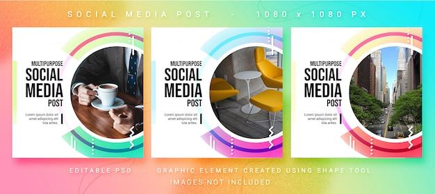 Uniwersalny szablon społecznościowy post psd