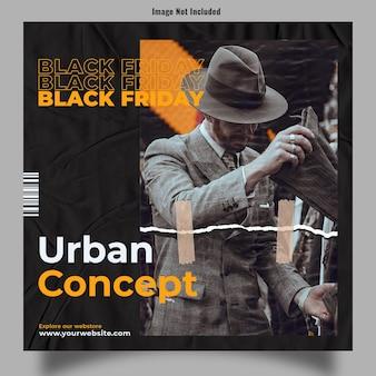 Urban concept branding postu z okazji czarnego piątku