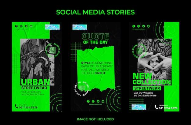 Urban fashion instagram stories kolekcja postów w mediach społecznościowych