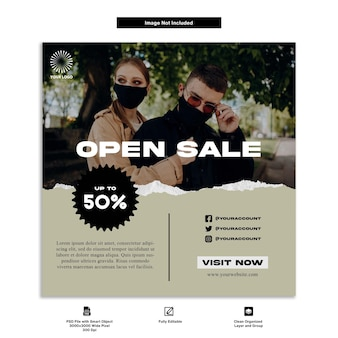 Urban streetwear fashion social media post template design