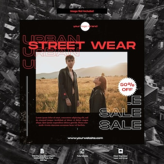 Urban style streetwear fashion projektowanie szablonów mediów społecznościowych
