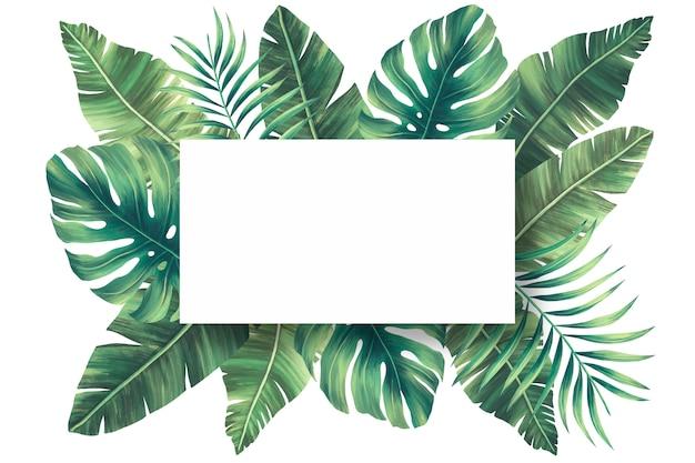 Urocza naturalna rama z tropikalnymi liśćmi