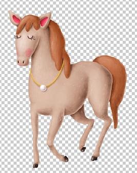Urocza ręka rysująca końska ilustracja