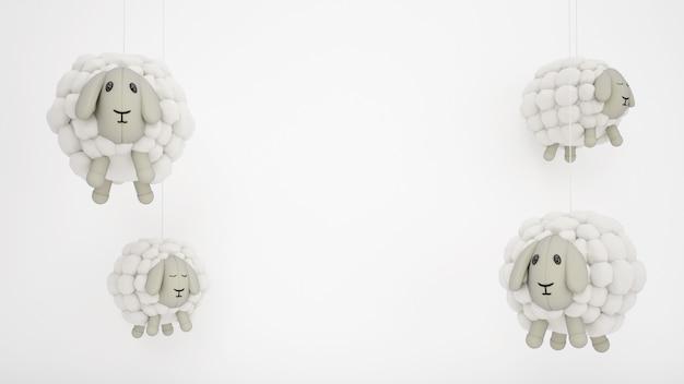 Urocze zabawki dziecięce wełniane owce z białym copyspace