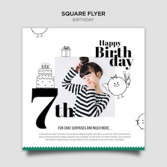 Urodzinowe zaproszenie kwadratowych ulotki