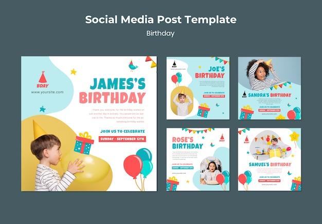Urodzinowy szablon postu w mediach społecznościowych dla dzieci