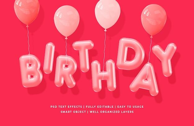 Urodziny efekt stylu tekstu 3d
