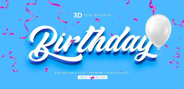 Urodziny szablon efektu stylu tekstu 3d