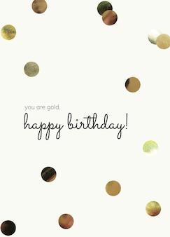 Urodziny szablon kartki z życzeniami psd ze złotym konfetti