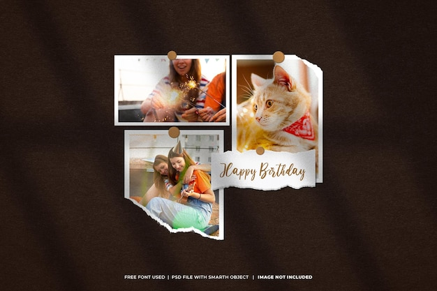 Urodziny zestaw ramek do zdjęć makieta moodboard