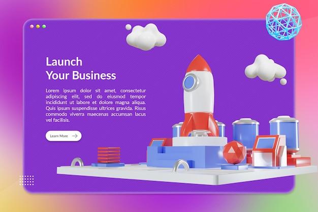 Uruchom swoją biznesową stronę docelową z ilustracją 3d rocket station