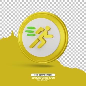 Uruchom szybko znak ikony renderowania 3d