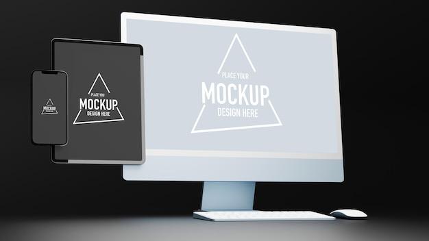 Urządzenia cyfrowe z ekranem makiety komputera typu tablet i smartfona renderowania 3d