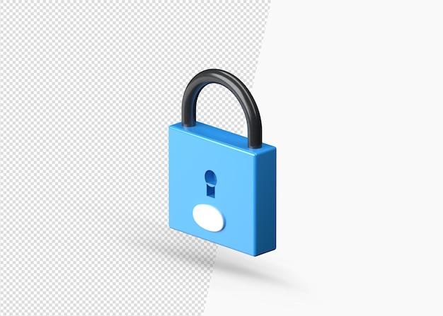 Urządzenia zabezpieczające kłódkę 3d realistyczna ikona na białym tle