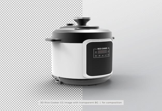 Urządzenie do gotowania ryżu w renderowaniu 3d na białym tle