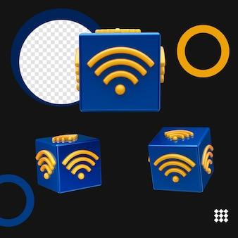 Urządzenie kostki bezprzewodowego połączenia internetowego symbole wifi na białym tle
