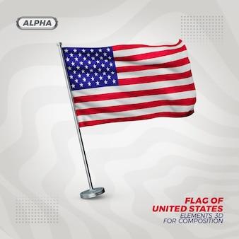 Usa realistyczna flaga z teksturą 3d