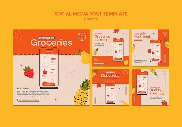 Usługa dostawy artykułów spożywczych kolekcja postów w mediach społecznościowych