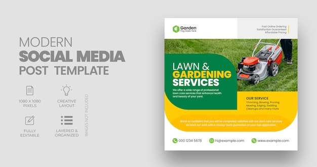 Usługa pielęgnacji trawników szablon postu na instagramie w mediach społecznościowych