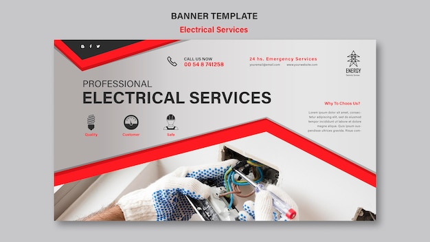 Usługi elektryczne poziomy baner