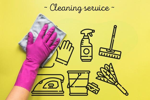Usługi sprzątania żółte tło