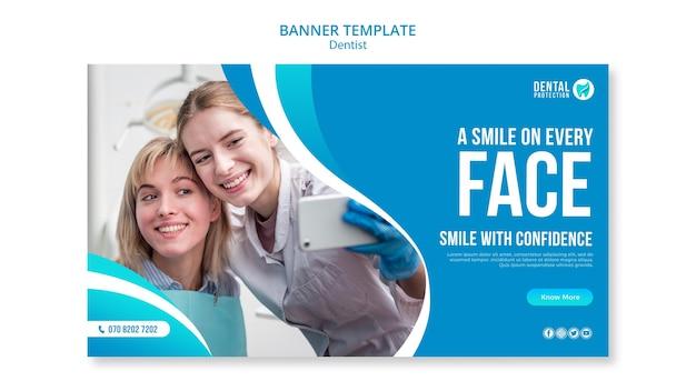 Uśmiech na każdym szablonie bannera na twarzy